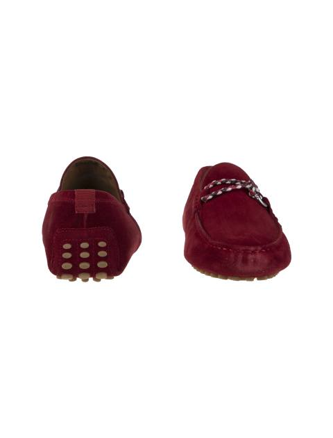 کفش چرم راحتی یکسره مردانه - قرمز - 5