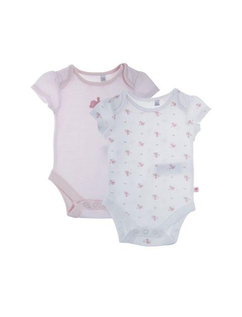 بادی نخی نوزادی دخترانه بسته دو عددی - سفيد/صورتي - 1