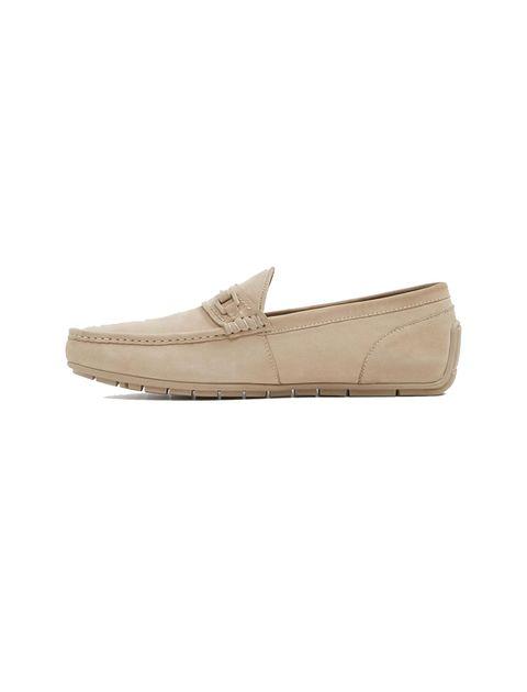 کفش چرم راحتی یکسره مردانه - کرم - 2
