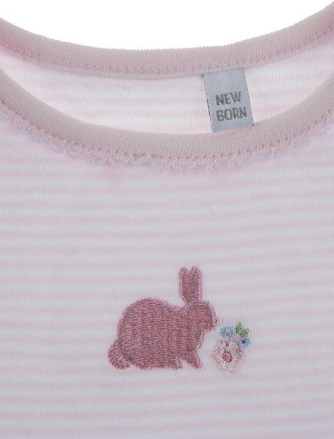 بادی نخی نوزادی دخترانه بسته دو عددی - سفيد/صورتي - 8