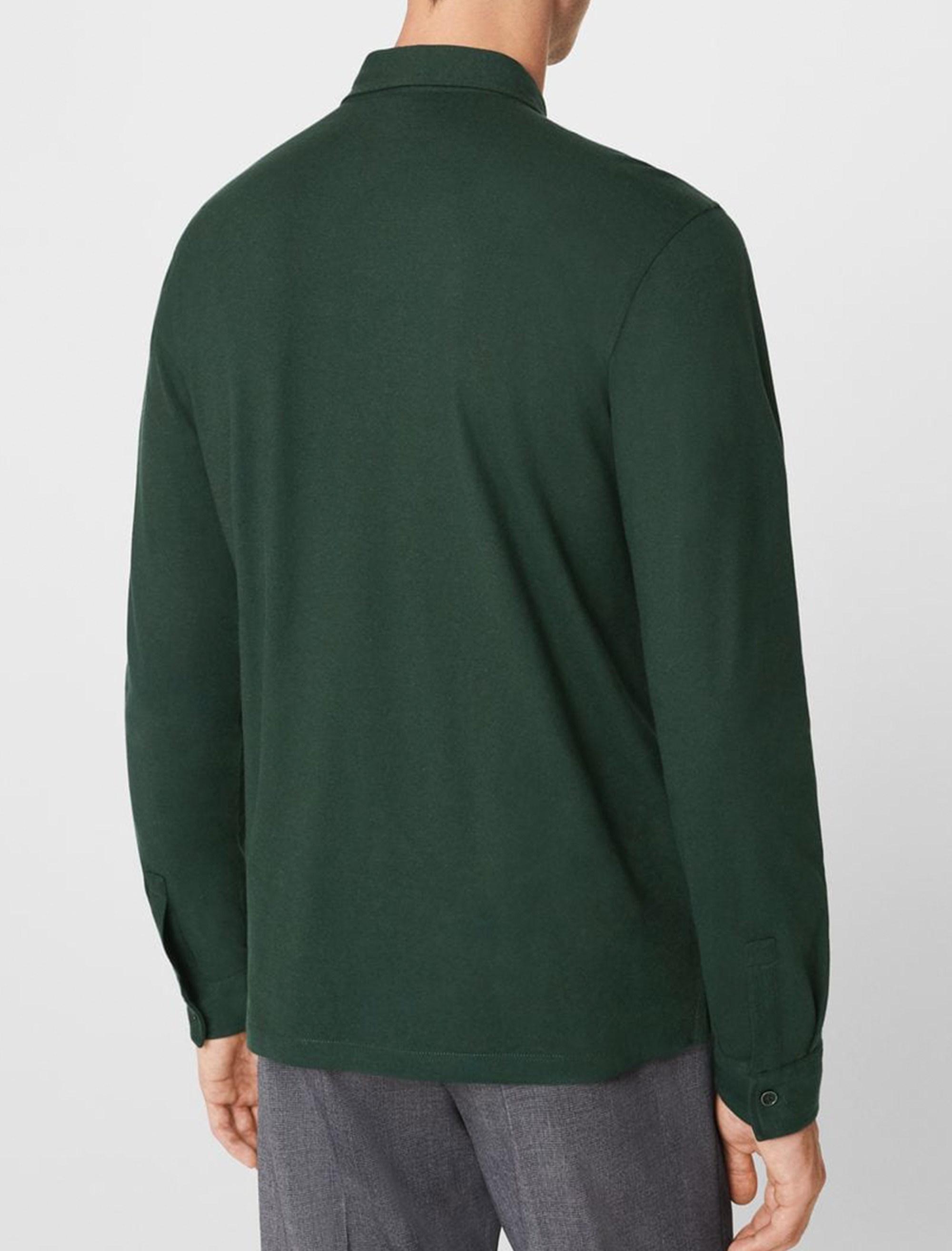 پولوشرت نخی آستین بلند مردانه - مانگو - سبز - 2