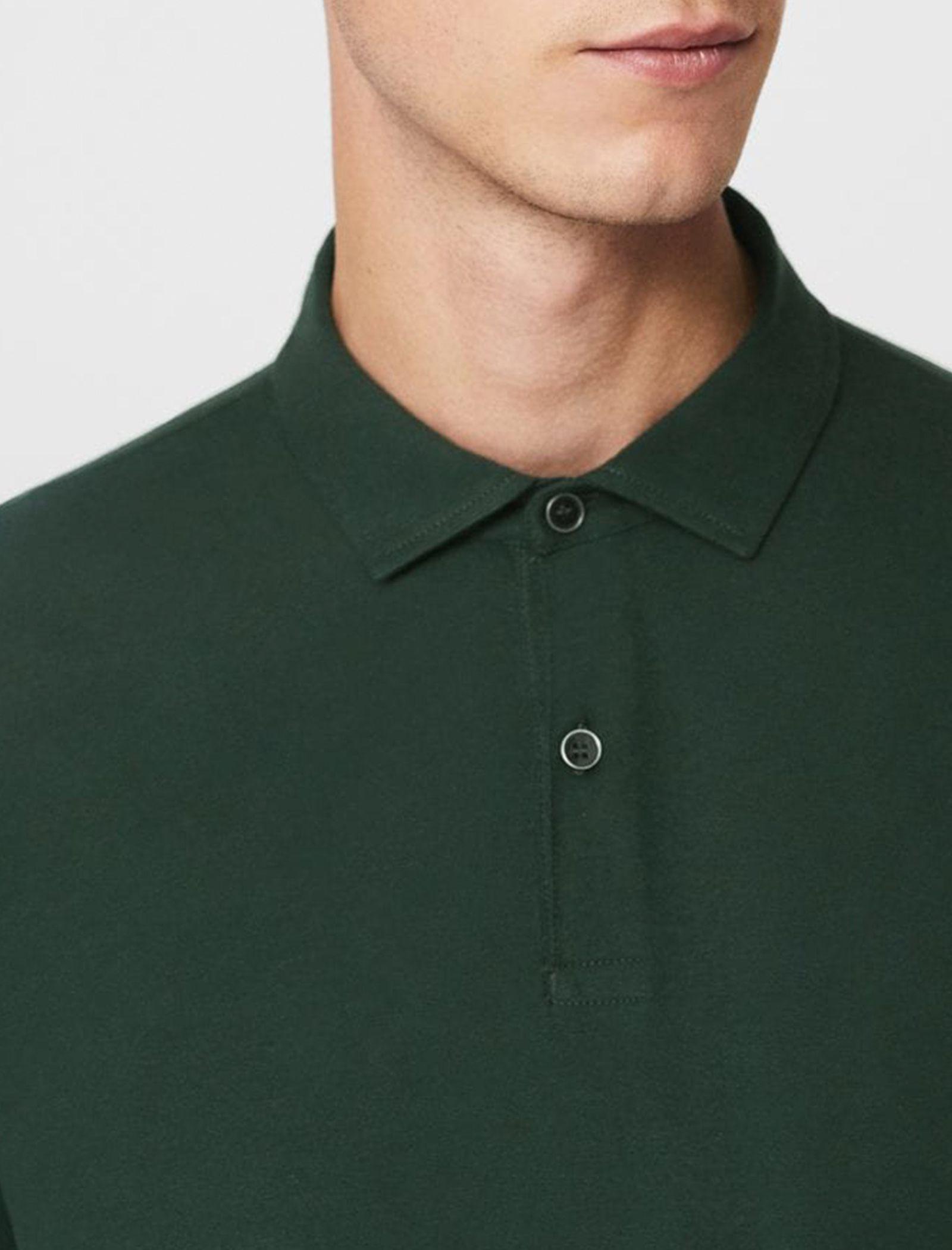 پولوشرت نخی آستین بلند مردانه - مانگو - سبز - 3