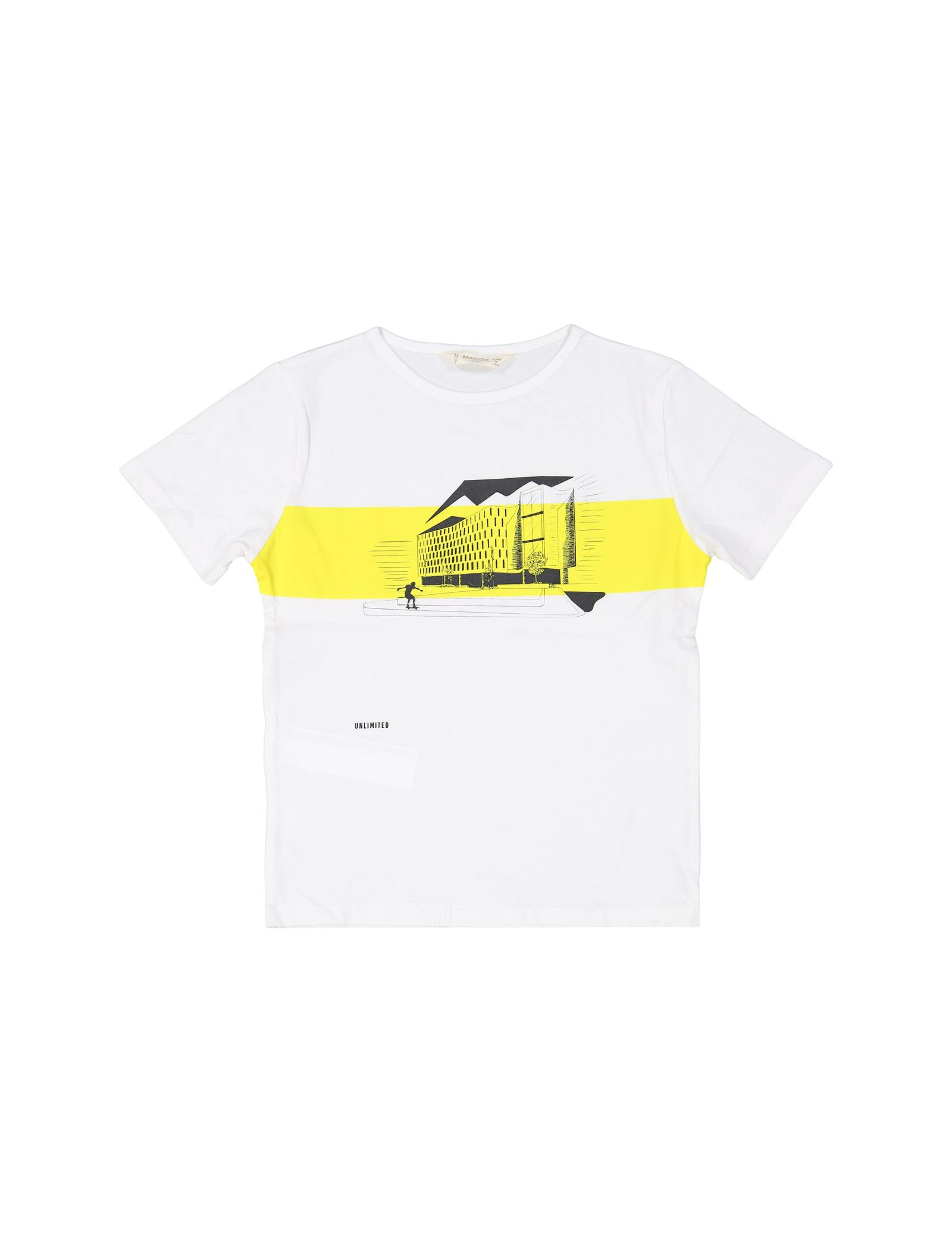 تی شرت نخی یقه گرد پسرانه - مانگو - سفيد - 1
