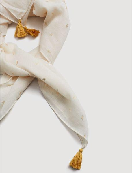 روسری نخی طرح دار دخترانه - سفيد - 3