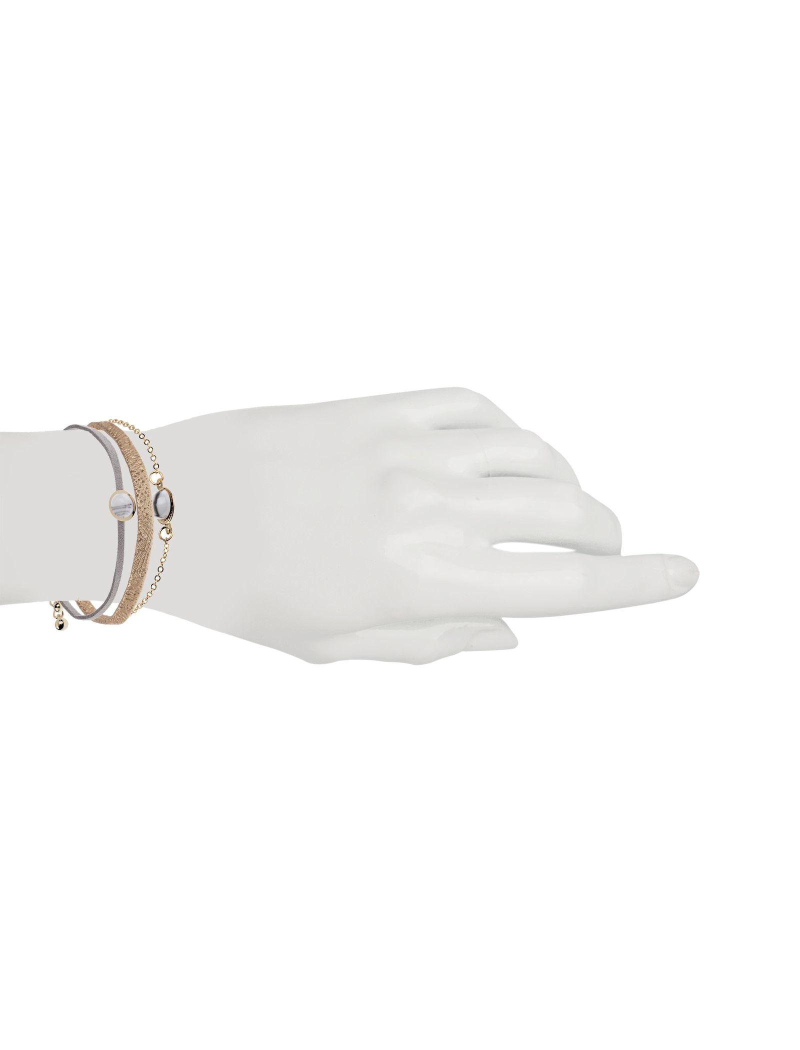 دستبند زنانه بسته 3 عددی - کوتون - طلايي/ طوسي - 14