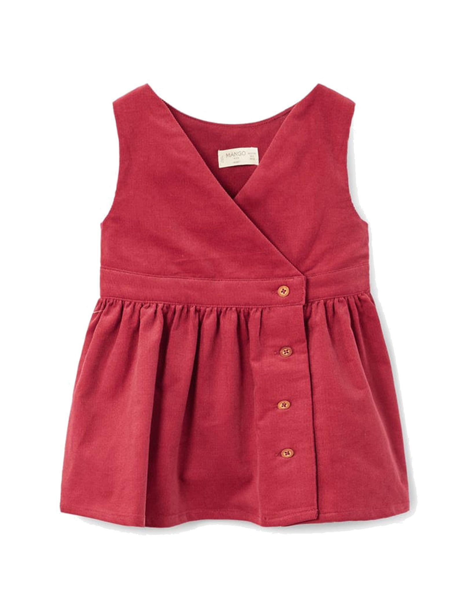 پیراهن نخی بدون آستین نوزادی دخترانه - مانگو - قرمز - 1