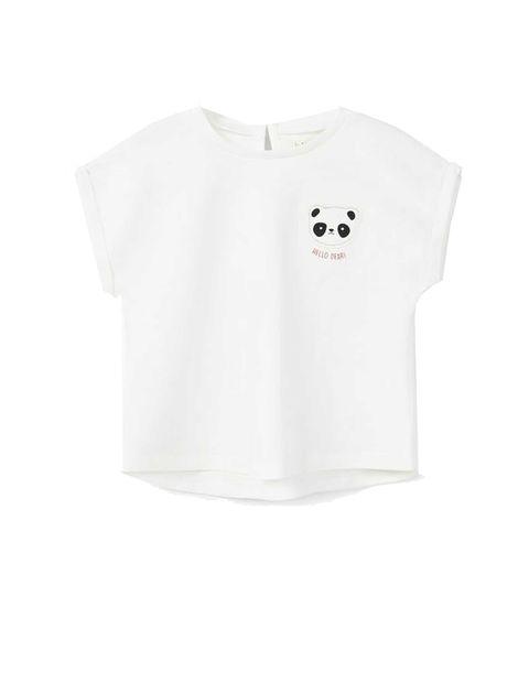 تی شرت نخی یقه گرد دخترانه - سفيد - 1