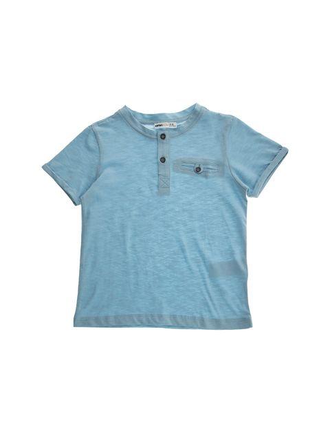 تی شرت نخی یقه گرد پسرانه - کوتون - آبي - 1