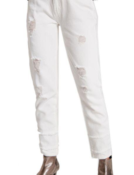 شلوار جین راسته زنانه - سفيد   - 1