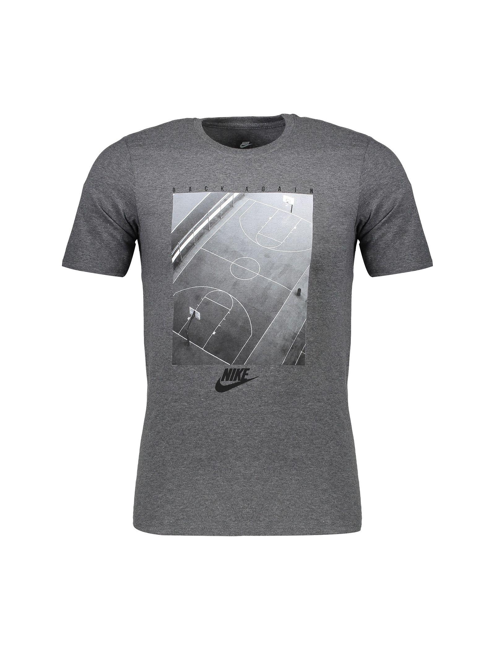 تی شرت نخی یقه گرد مردانه Pressn - نایکی - زغالي - 1