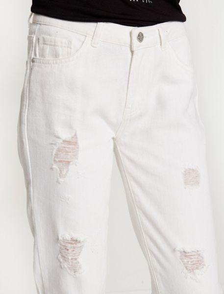 شلوار جین راسته زنانه - سفيد   - 3