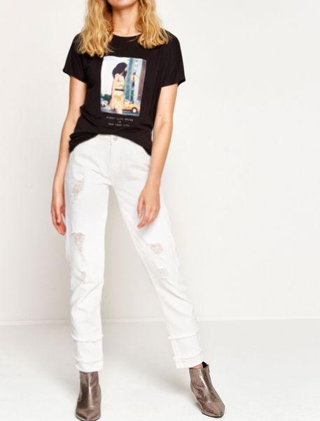 شلوار جین راسته زنانه - سفيد   - 4