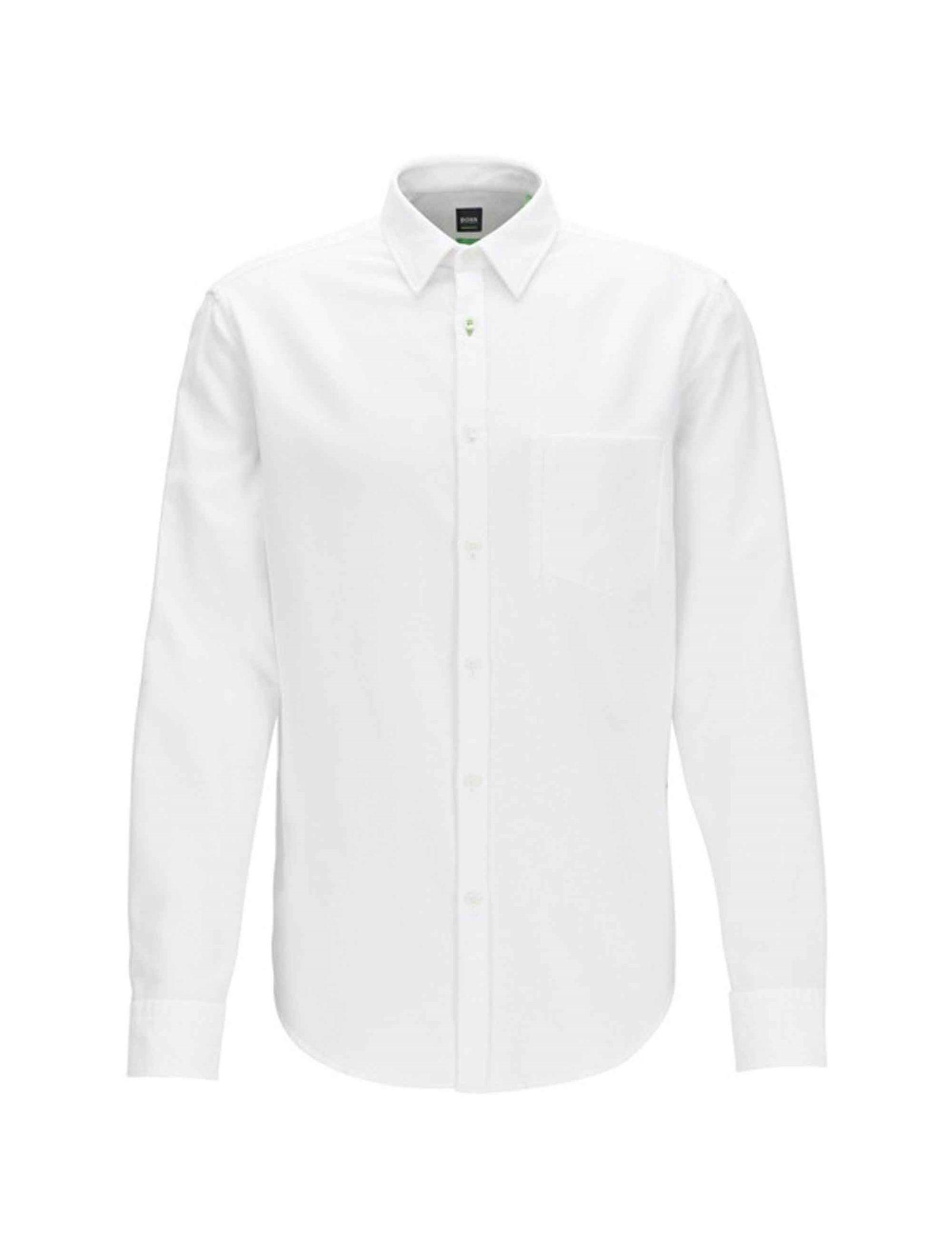 پیراهن نخی آستین بلند مردانه BISEV_R - باس - سفيد - 1