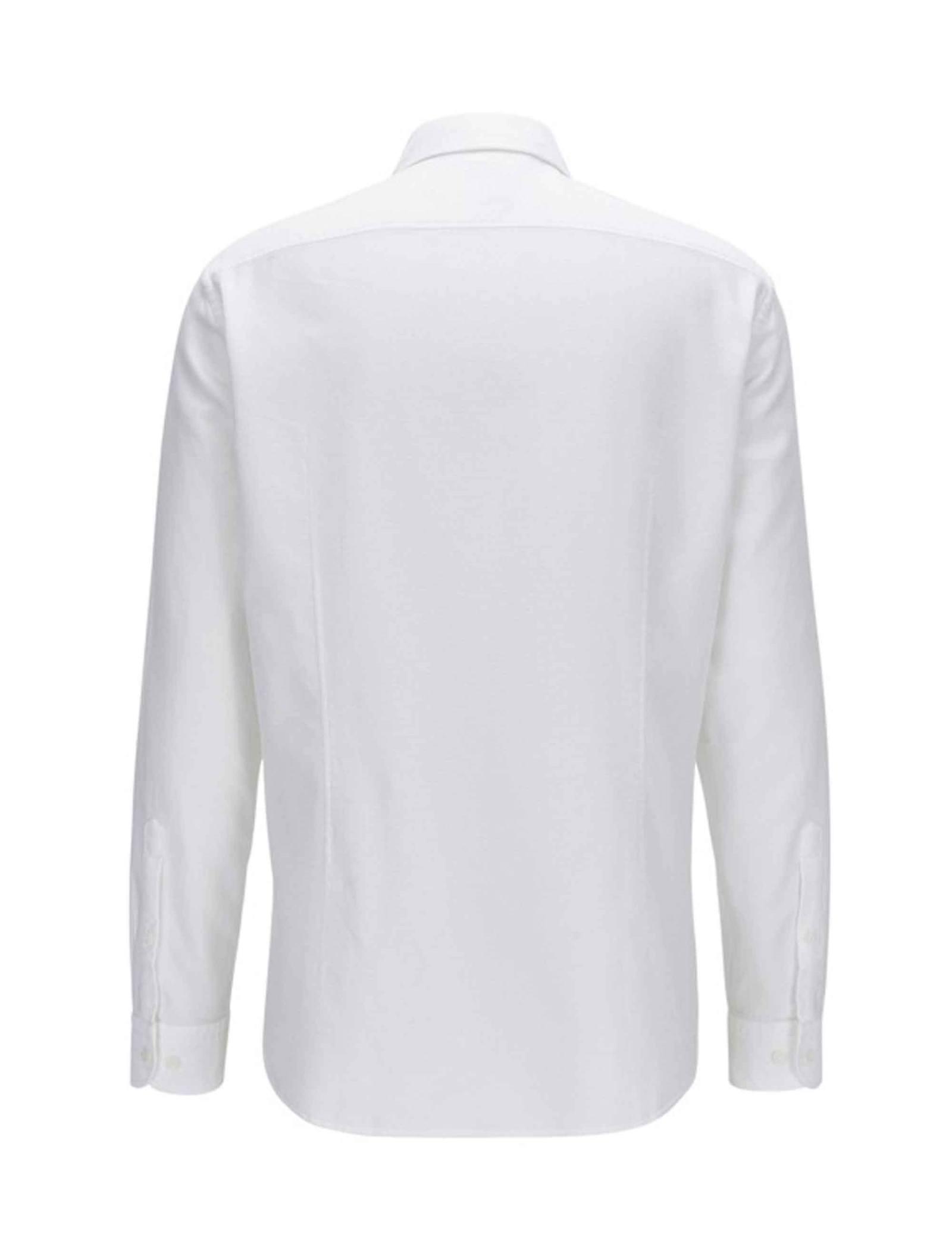 پیراهن نخی آستین بلند مردانه BISEV_R - باس - سفيد - 3