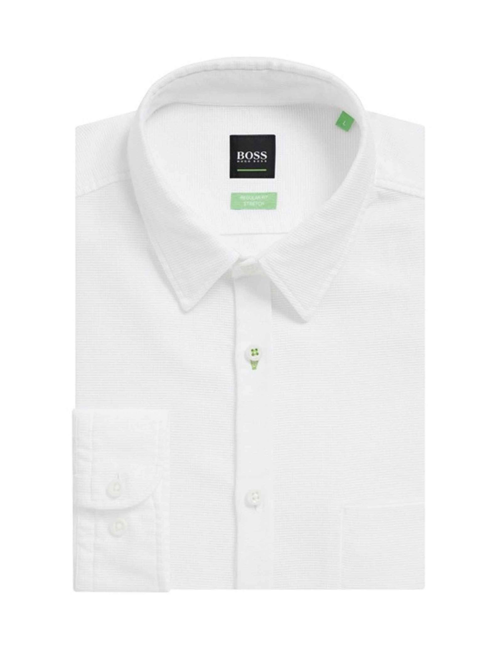 پیراهن نخی آستین بلند مردانه BISEV_R - باس - سفيد - 4