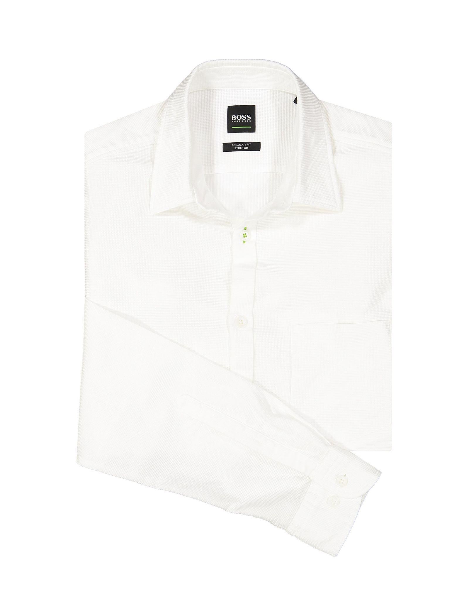 پیراهن نخی آستین بلند مردانه BISEV_R - باس - سفيد - 5