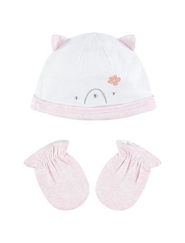 کلاه و دستکش نخی ساده نوزادی دخترانه - ارکسترا