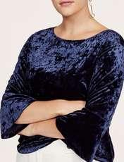 بلوز آستین سه ربع زنانه - ویولتا بای مانگو - سرمه اي - 2