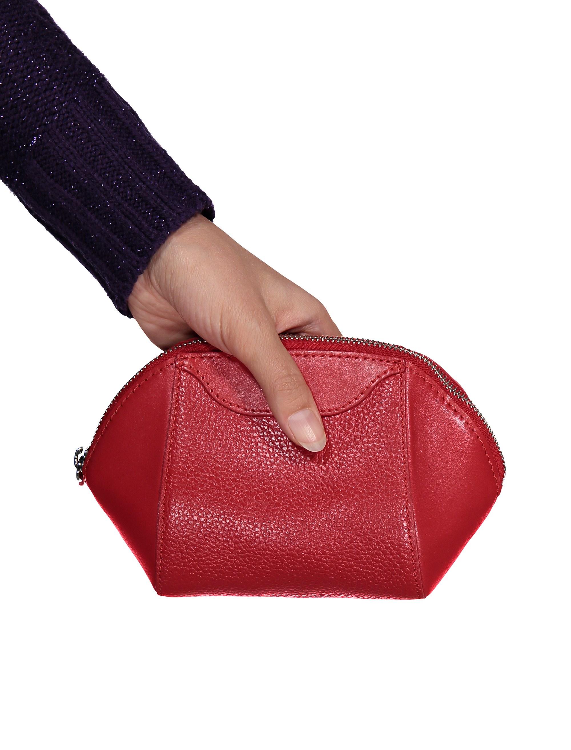 کیف لوازم آرایش چرم زنانه - چرم مشهد - قرمز - 5