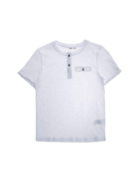 تی شرت نخی یقه گرد پسرانه - سفيد - 1