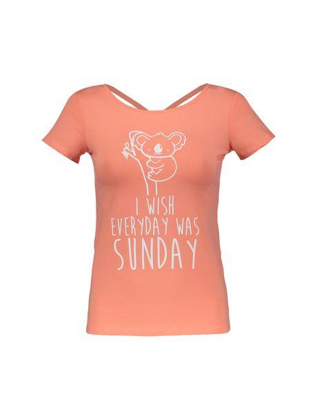 تی شرت نخی یقه گرد زنانه - نارنجي - 1