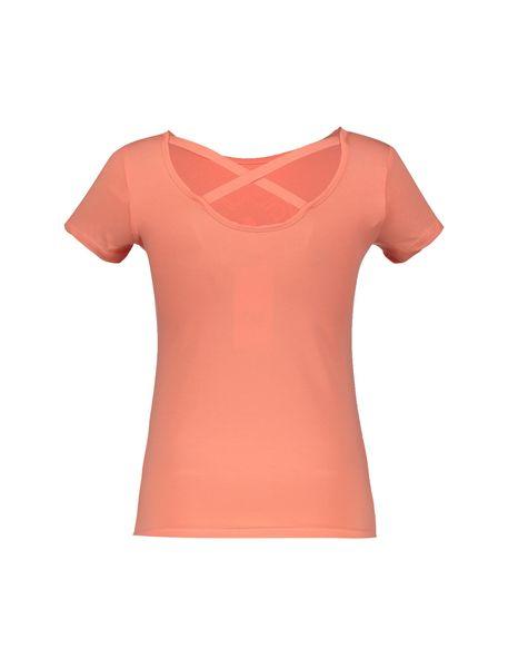 تی شرت نخی یقه گرد زنانه - نارنجي - 2