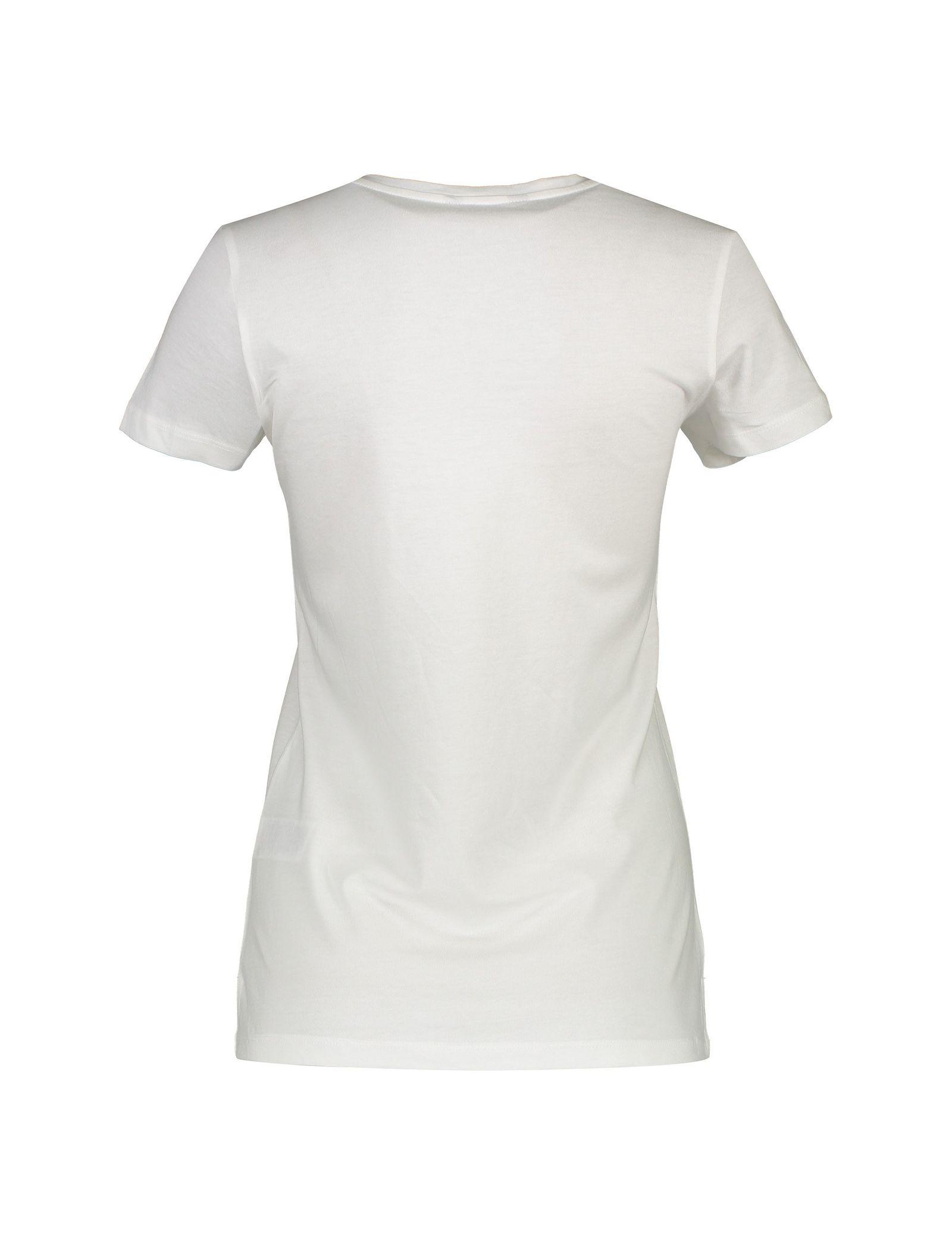 تی شرت نخی یقه گرد زنانه - رد هرینگ - سفيد - 2