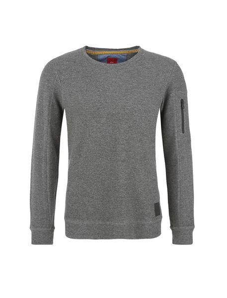 تی شرت نخی آستین بلند مردانه - خاکستري - 1