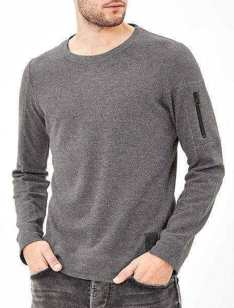 تی شرت نخی آستین بلند مردانه - خاکستري - 2
