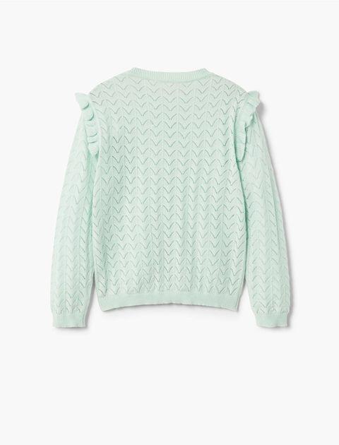 ژاکت نخی کوتاه دخترانه - سبز آبي روشن - 2