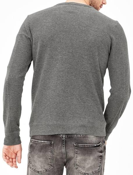 تی شرت نخی آستین بلند مردانه - خاکستري - 3