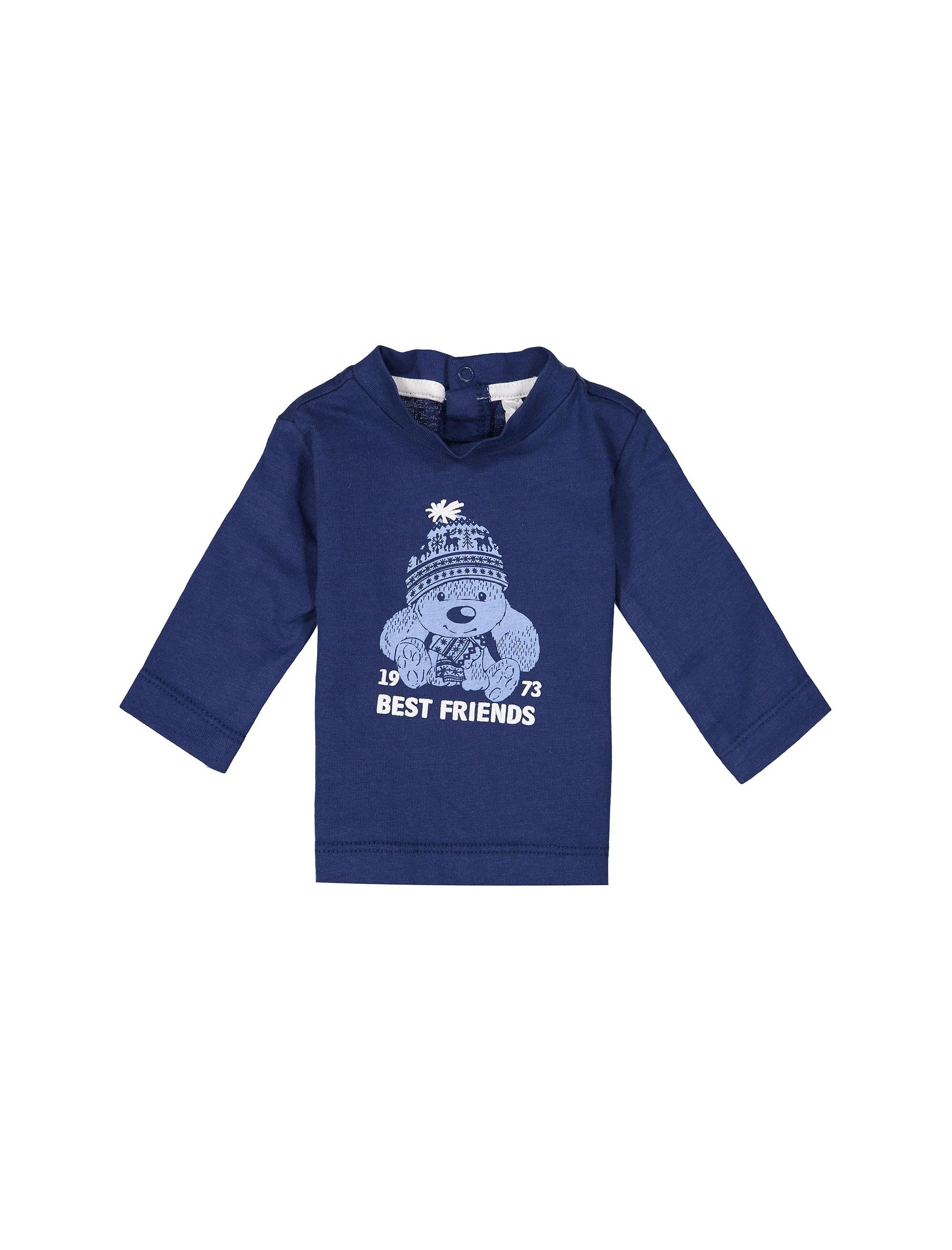 تی شرت نخی یقه گرد نوزادی پسرانه - ایدکس - سرمه اي - 1