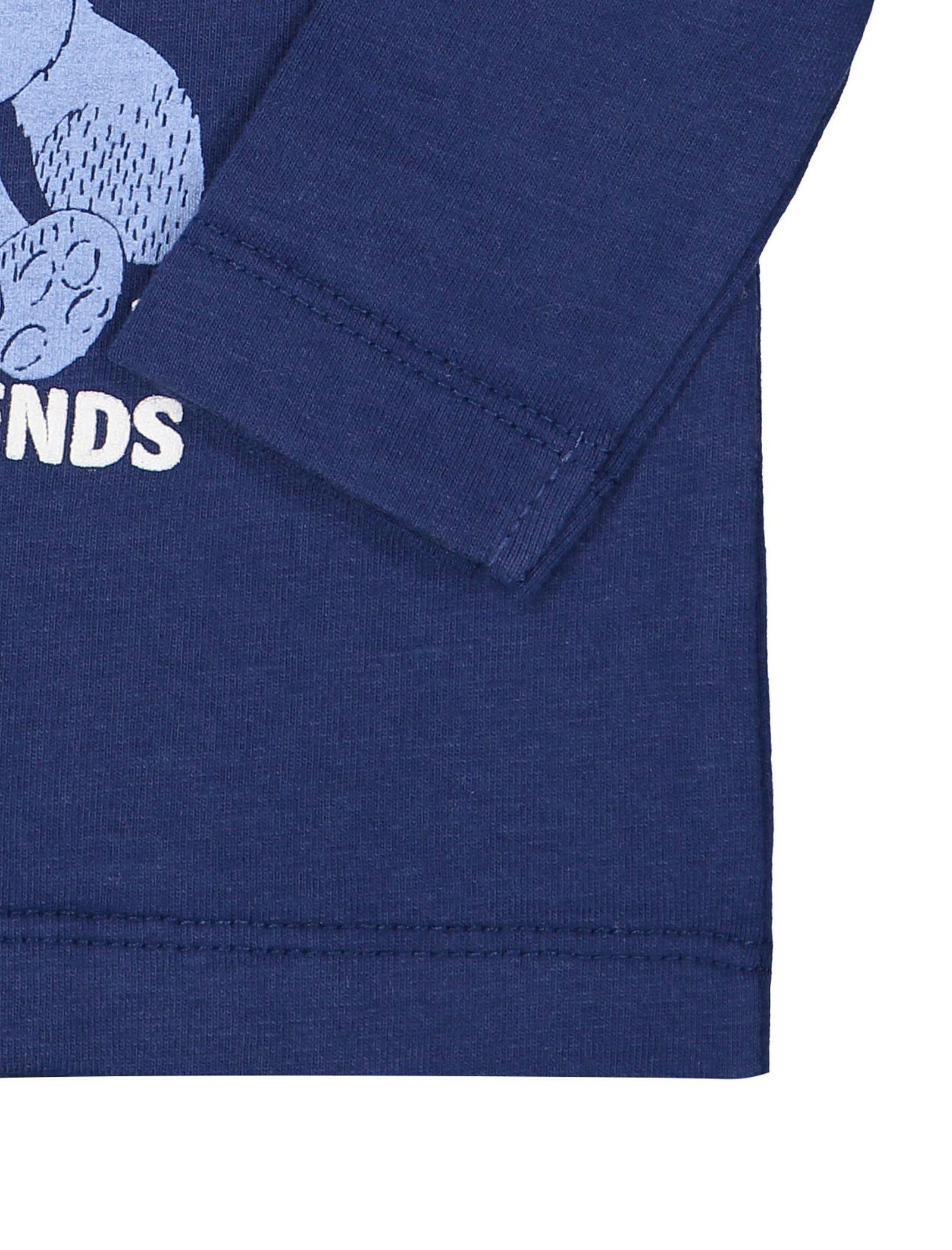 تی شرت نخی یقه گرد نوزادی پسرانه - ایدکس - سرمه اي - 3