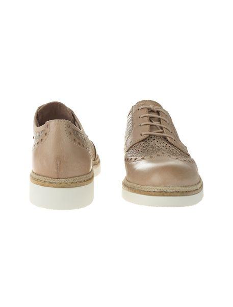 کفش چرم بندی زنانه - کرم - 1