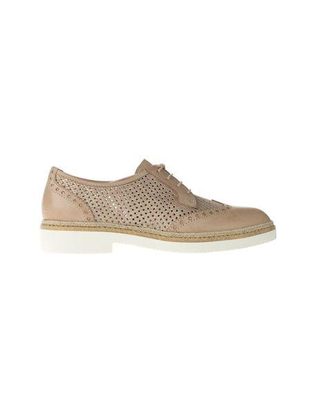 کفش چرم بندی زنانه - کرم - 2