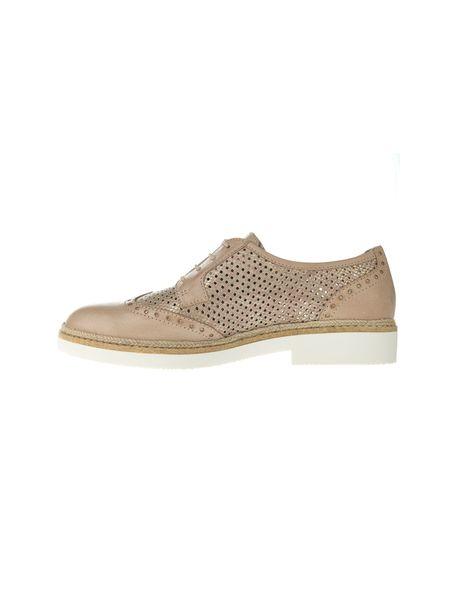 کفش چرم بندی زنانه - کرم - 3