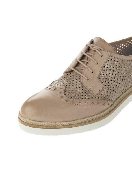 کفش چرم بندی زنانه - کرم - 4