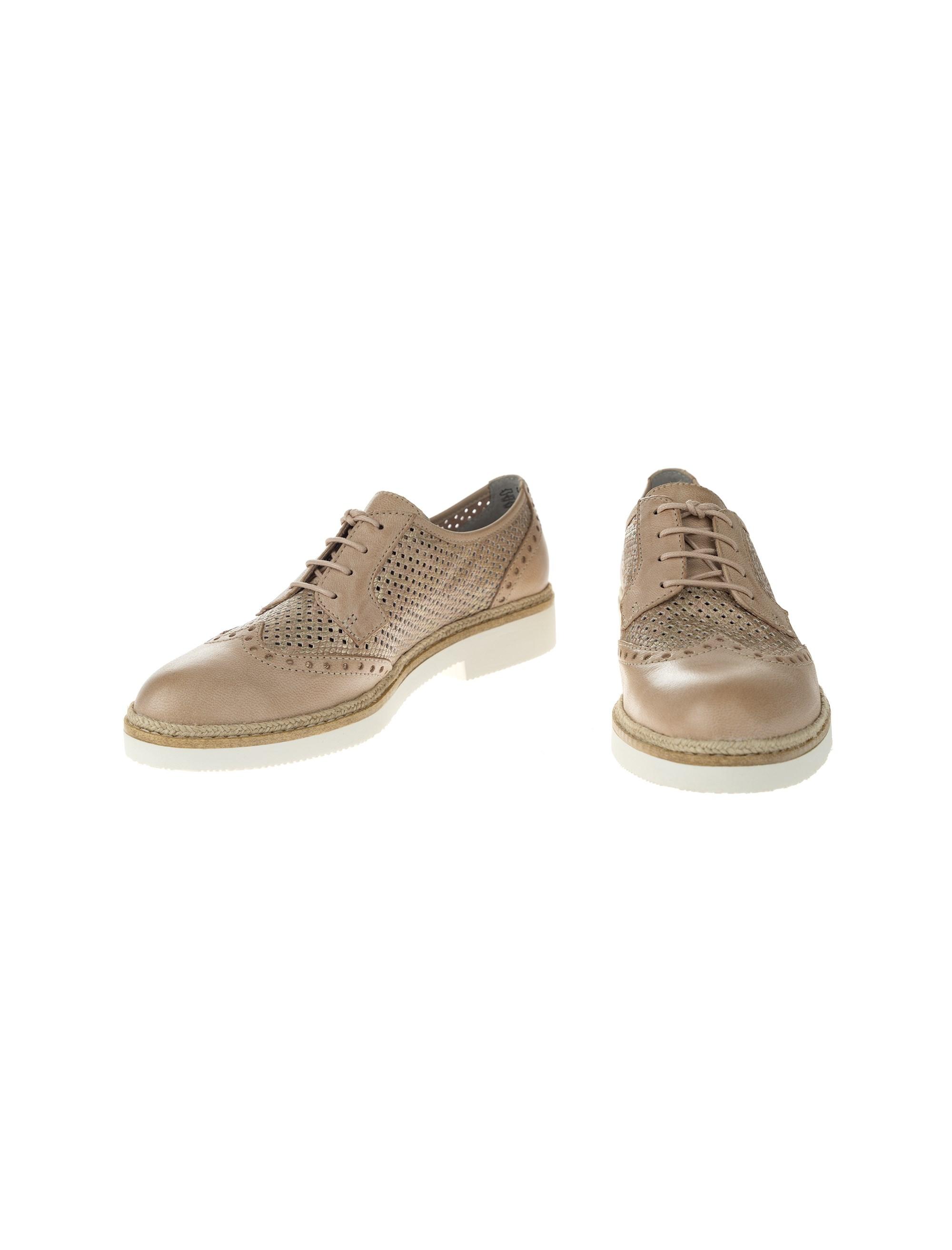 کفش چرم بندی زنانه - کرم - 5