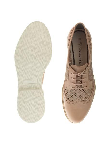 کفش چرم بندی زنانه - کرم - 6