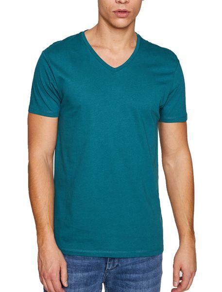 تی شرت نخی یقه هفت مردانه - آبي - 1