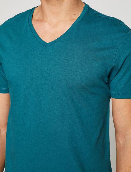 تی شرت نخی یقه هفت مردانه - آبي - 3