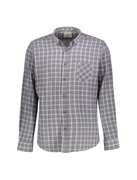 پیراهن نخی روزمره مردانه - کوتون - طوسي - 1