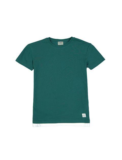 تی شرت نخی یقه گرد پسرانه - سبز - 1
