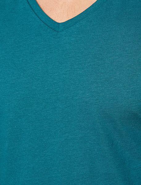 تی شرت نخی یقه هفت مردانه - آبي - 4