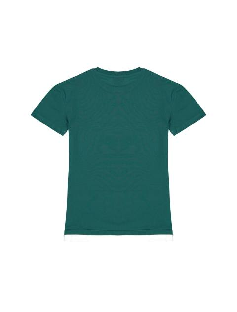 تی شرت نخی یقه گرد پسرانه - سبز - 2