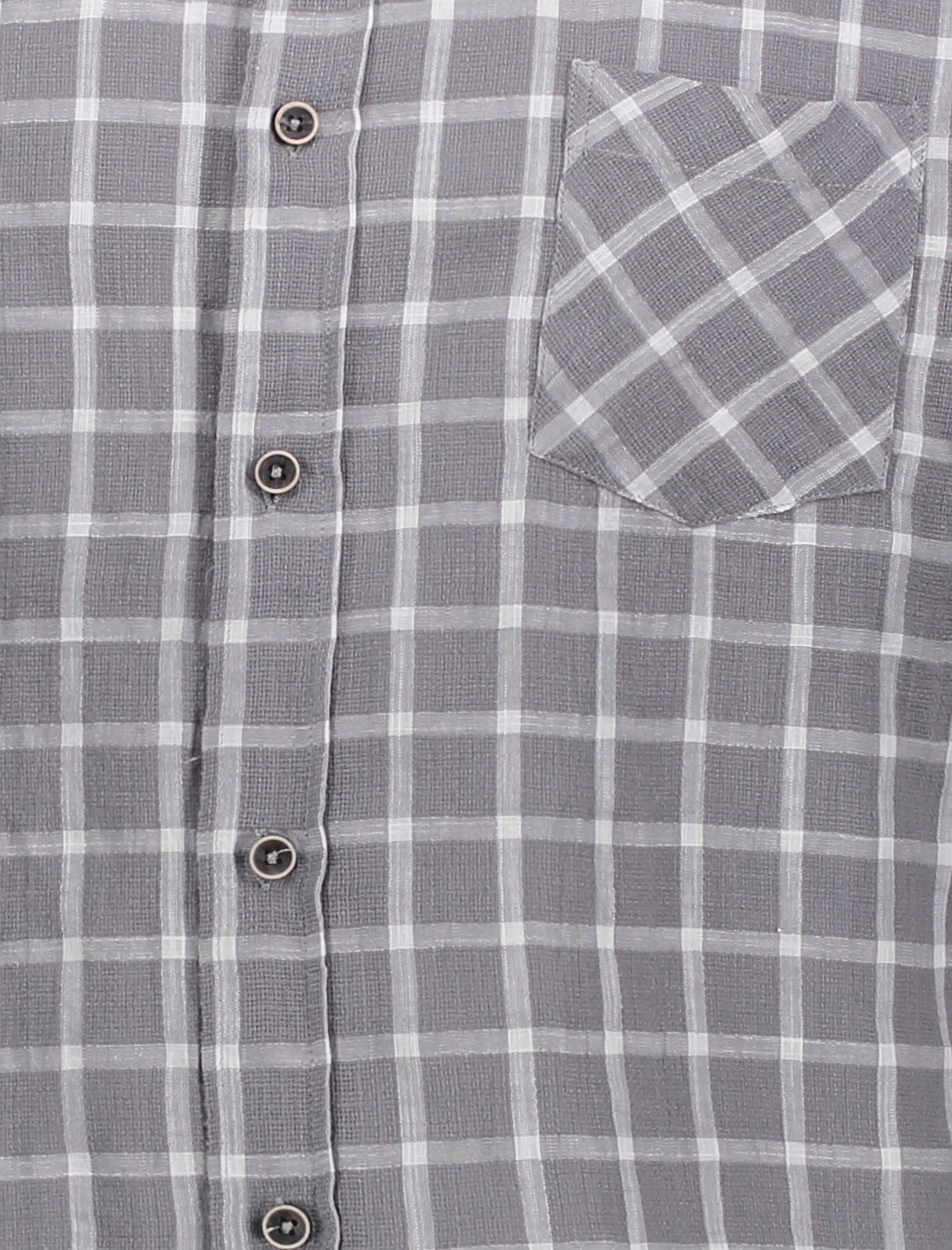 پیراهن نخی روزمره مردانه - طوسي - 4
