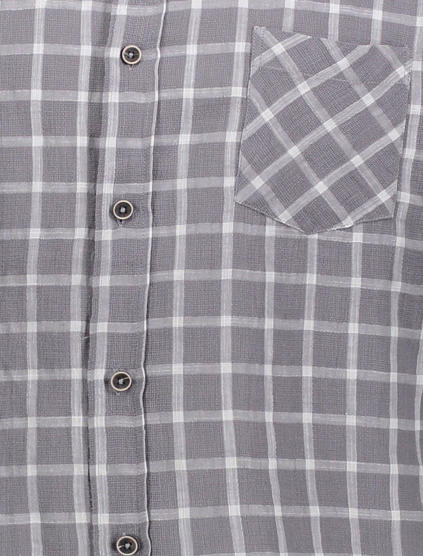 پیراهن نخی روزمره مردانه - کوتون - طوسي - 4