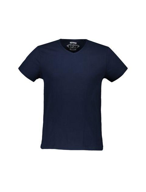 تی شرت نخی یقه هفت مردانه - سرمه اي - 1