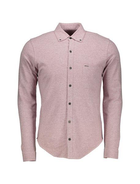 پیراهن نخی آستین بلند مردانه - صورتي - 1