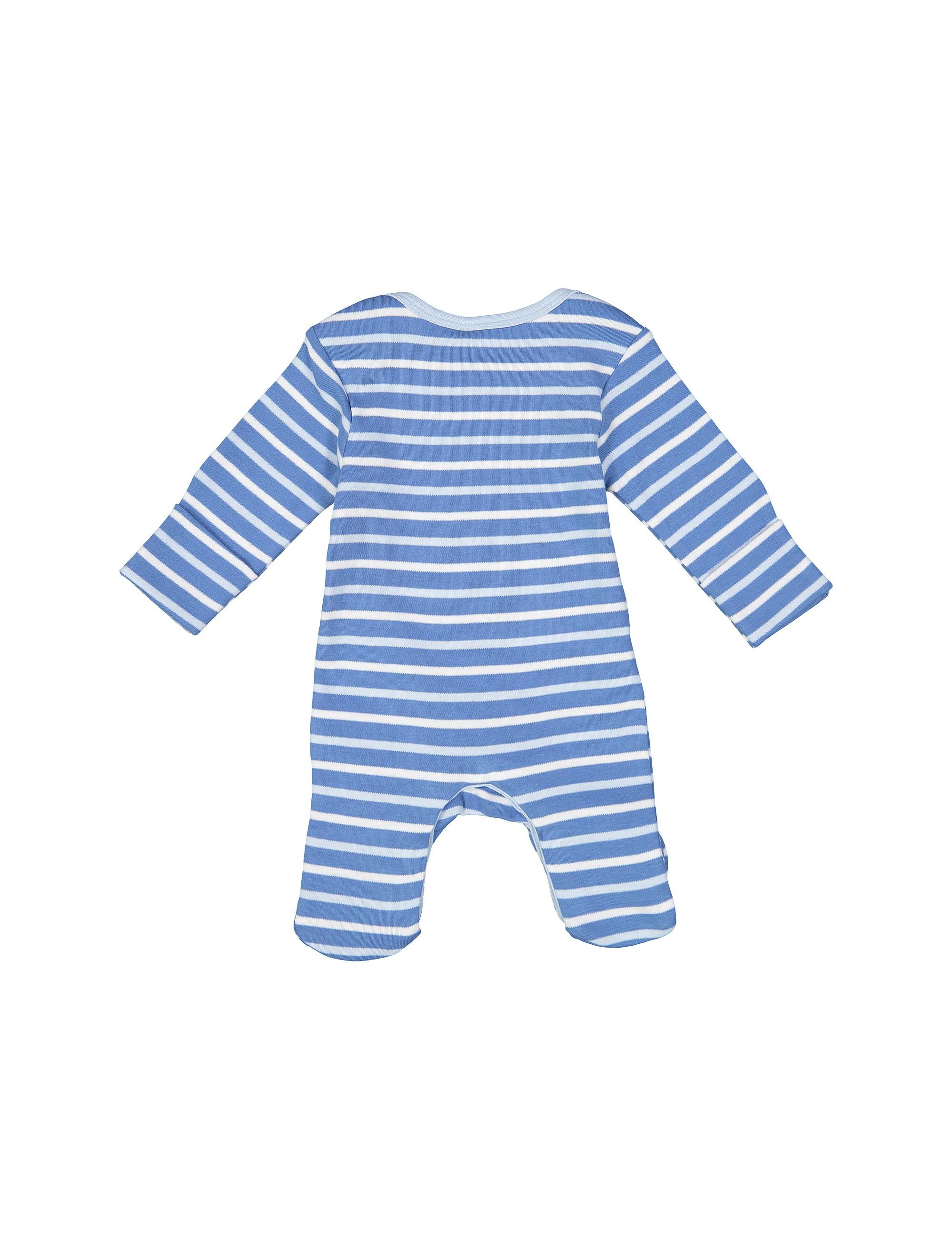 سرهمی نخی طرح دار نوزادی پسرانه - بلوزو - آبي - 2